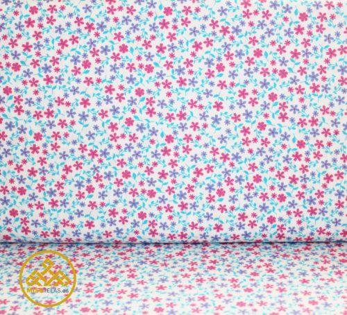 tela flores azul, tela online flores, venta de telas de algodón flores