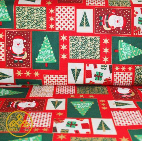 patchwork navidad, tela navidad algodón