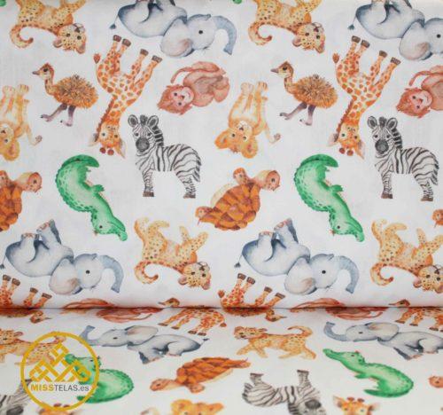 tela algodón animales, tela infantil