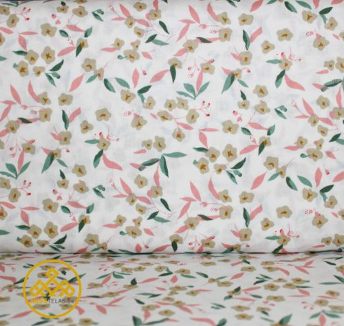 tela algodón, flores algodón