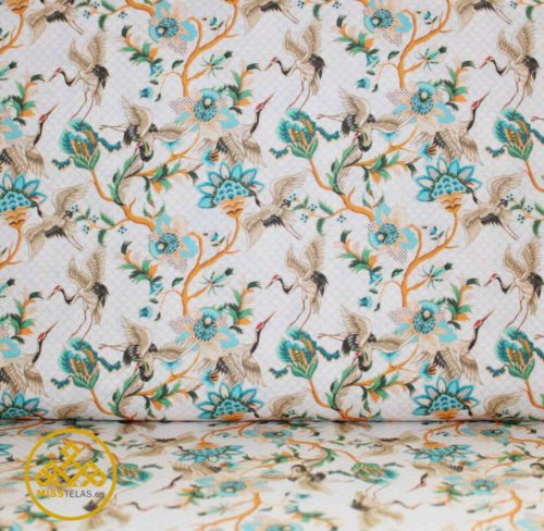 tela flores algodón