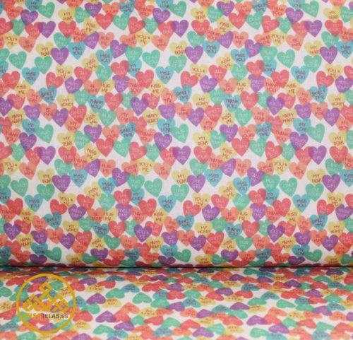 tela algodón corazones