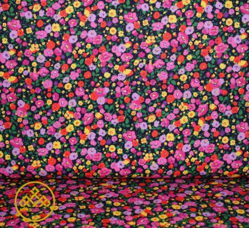tela algodón flores
