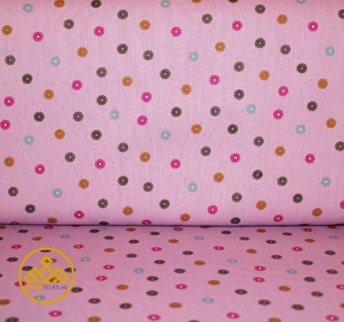 tela algodón topos colores