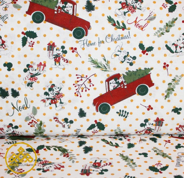 tela algodón navidad mickey
