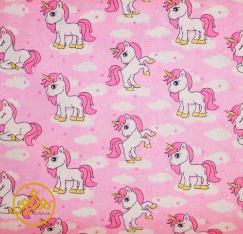 tela algodón infantil, unicornios