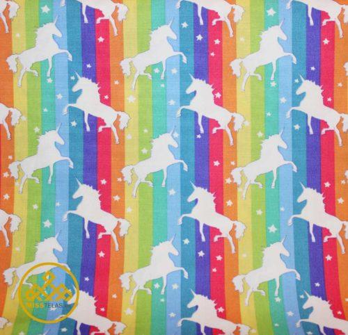 tela algodón unicornios