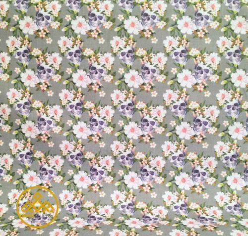 tela algodón calavera flores