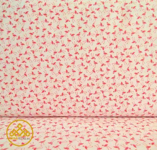 tela algodón flamencos
