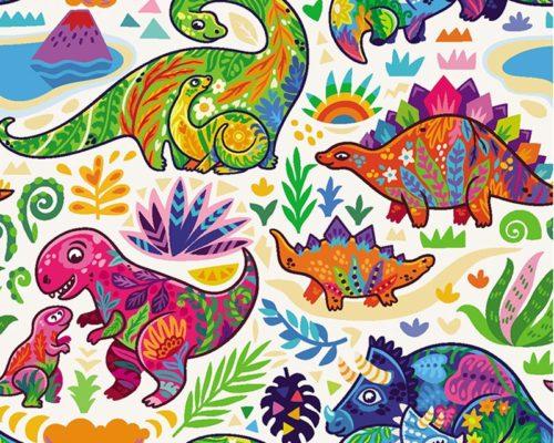 tela algodón dinosaurios