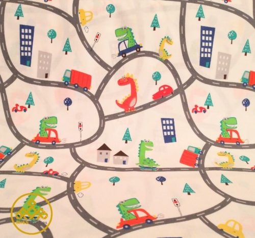 tela infantil algodón, tela dibujo dinosaurios