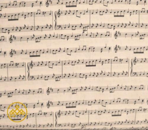 tela partitura algodón, notas musicales
