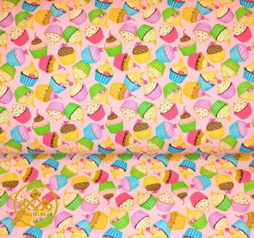 tela algodón cupcakes
