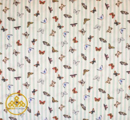 tela algodón mariposas
