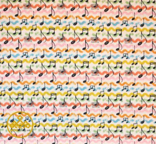 tela algodón notas musicales