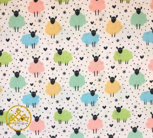 tela de algodón ovejitas colores