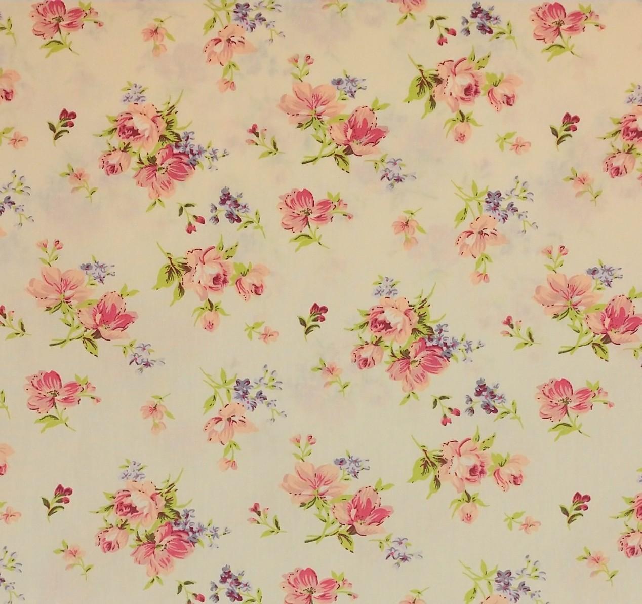 telas de algodón de flores de colección
